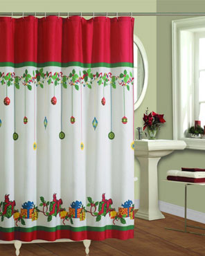 Multi Gift Boxes Fabric Shower Curtain Hanging On A Rod
