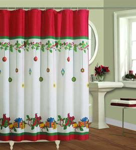 Multi Gift Boxes Fabric Shower Curtain hanging on a shower curtain rod