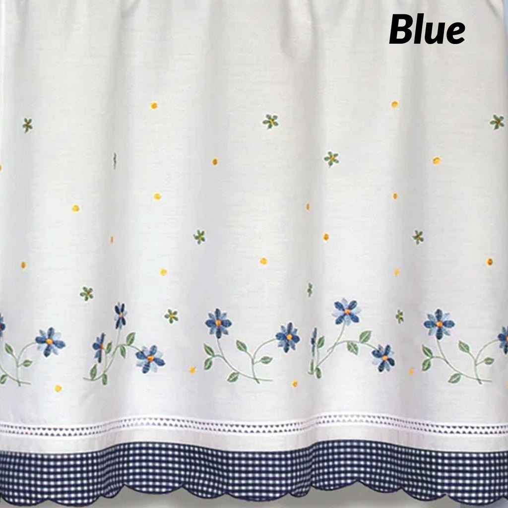 Gentil ... Closeup Of Blue Gingham Tier Curtains Fabric And Design ...