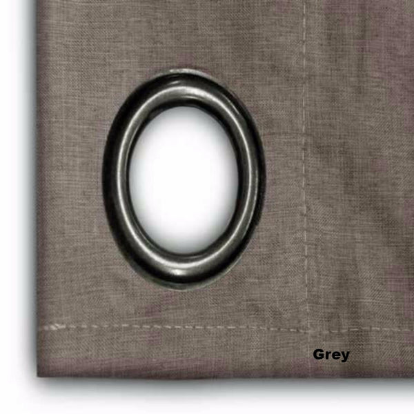 close up shot of Grey Glasgow Grommet Top Patio Panel fabric and grommet