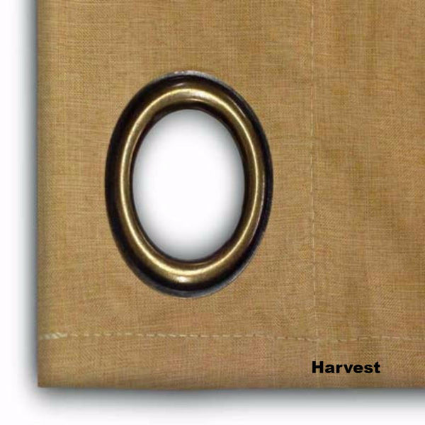 close up shot of Harvest Glasgow Grommet Top Patio Panel fabric and grommet