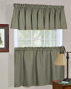 Moss Glasgow Tier Valance and Swag hanging on a curtain rod