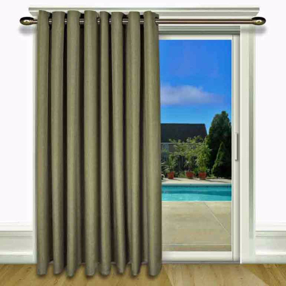 Spanish Moss Glasgow Grommet Top Patio Panel hanging on a decorative curtain rod
