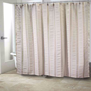 Multi Gulfport Fabric Shower Curtain hanging on a shower curtain rod