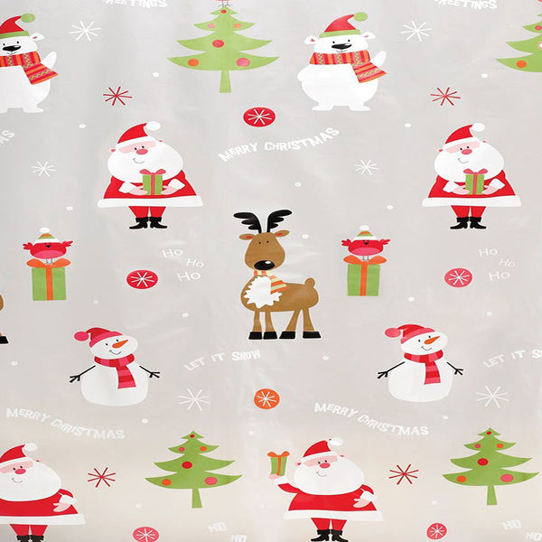 Closeup of Frosty Clear HOHO Holiday Peva Shower Curtain Santa Claus, Snowmen, and Reindeer