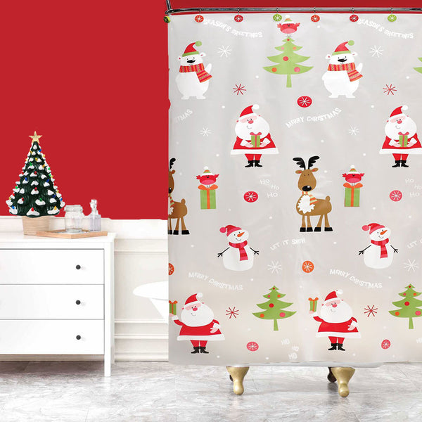 Frosty Clear Ho Ho Holiday PEVA Shower Curtain hanging in a bathroom