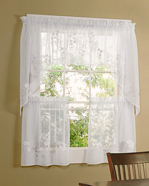 Hydrangea Semi Sheer Faux Linen Tier,Valance and Swag