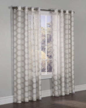 Taupe Madison Grommet Top Panel hanging on a decorative curtain rod