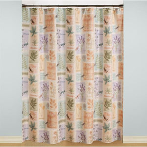 Multi Harmony Fabric Shower Curtain hanging on a shower curtain rod