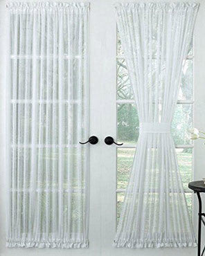 White Harmony Sheer Door Panel hanging on a cafe rod