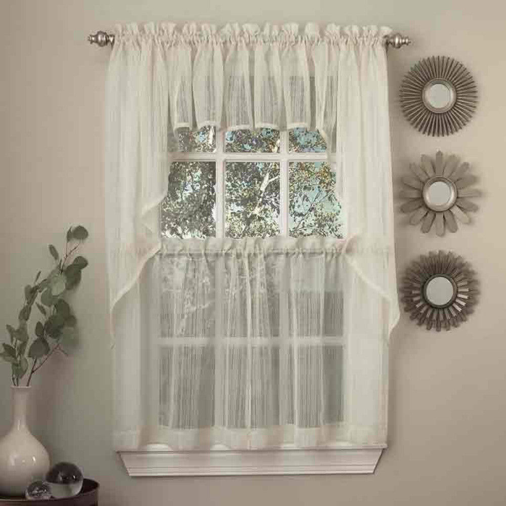 Harmony Sheer Kitchen Valance Swags And Tier Curtains