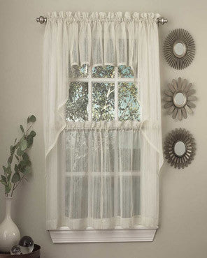 White Harmony Sheer Kitchen Valance, Swags, And Tier Curtains hanging on curtain rods