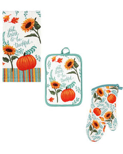 Multi Harvest Delight Kitchen Towel, Oven Mitt and Pot Holder