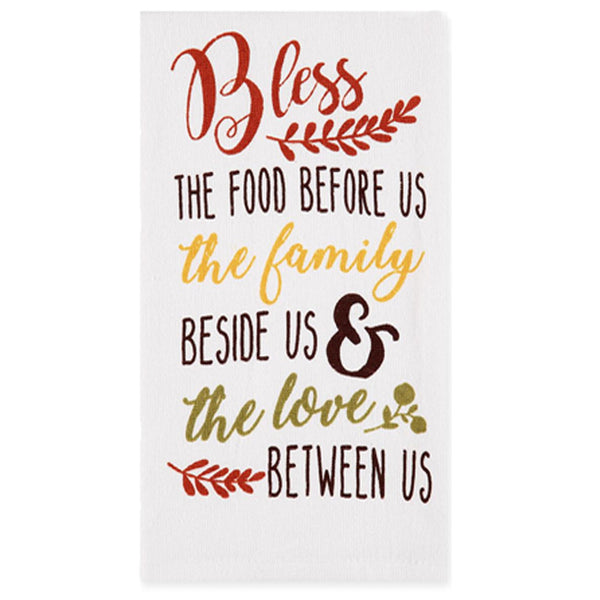 Harvest Kitchen Towel collection bless this food white