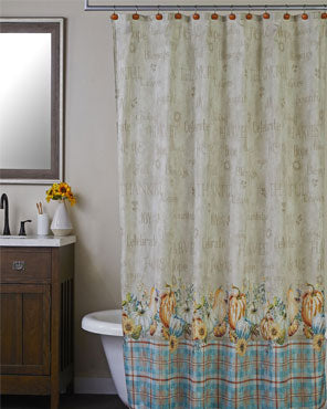 Harvest Sentiments Shower Curtain & Hook Set