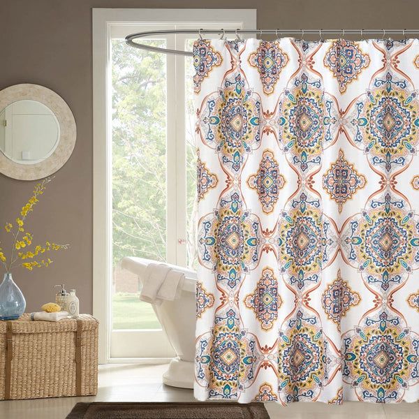 Spice Henna Medallion Fabric Shower Curtain hanging on a shower curtain rod