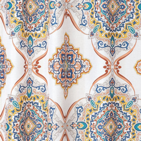Closeup shot of Spice Henna Medallion Fabric Shower Curtain fabric