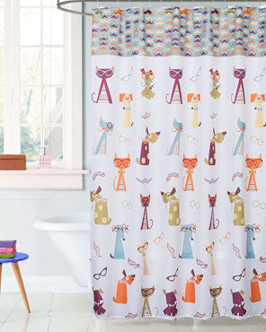 Multi Hipster Paws Fabric Shower Curtain hanging on a shower curtain rod
