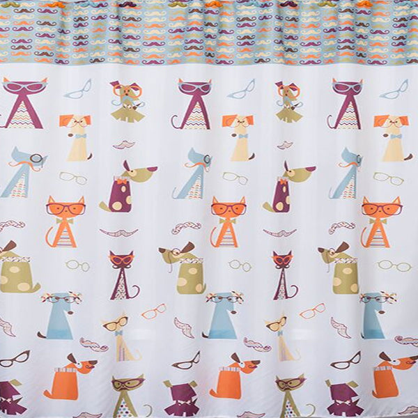 Closeup shot of Multi Hipster Paws Fabric Shower Curtain fabric
