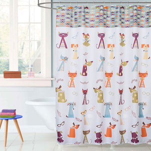 Hipster Paws Fabric Shower Curtain