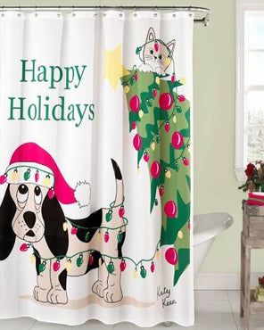 Multi Holiday Mischief Fabric Shower Curtain hanging on a bathroom curtain rod