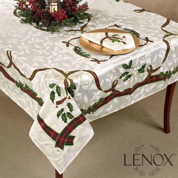 Holiday Nouveau Fabric Tablecloth spread over a table