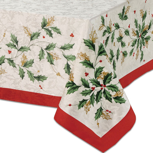 Closeup of Holiday Fabric Tablecloth corner by Lenox