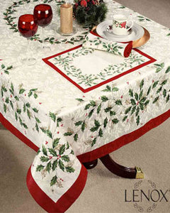 Holiday Fabric Tablecloth by Lenox on a oblong table