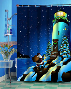 Multi Holiday Lighthouse Fabric Shower Curtain on a Shower Curtain Rod