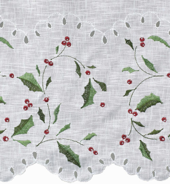 Closeup of Holly Cutwork Semi Sheer Kitchen Valance, Swags, and Tier Curtains fabric