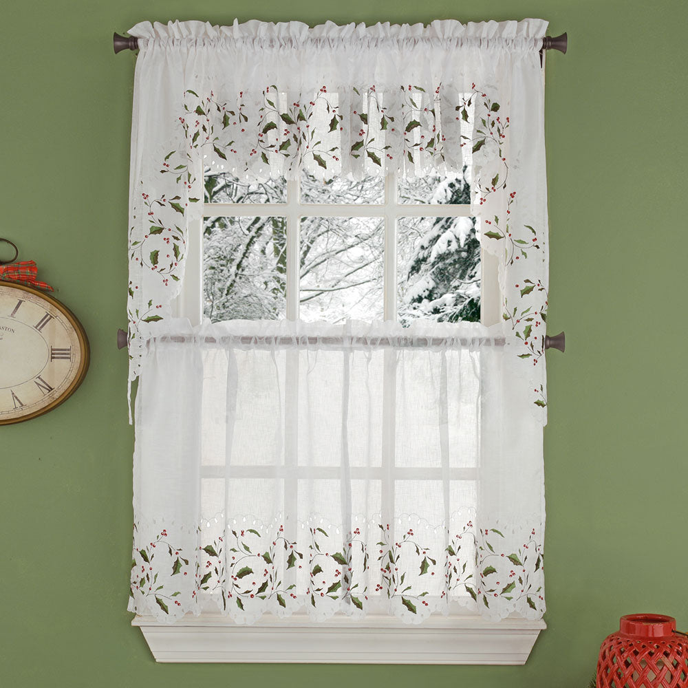 Holly Cutwork Semi Sheer  Kitchen Tiers, Swag and Valance