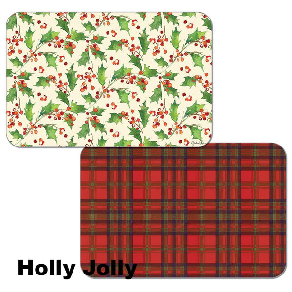 Holly Jolly Assortment Christmas Reversible Plastic Placemats