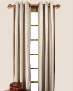 Homespun Double Lined Grommet Top Panels hanging on a decorative rod