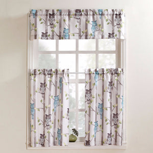 No. 918 Hoot Owl Print Kitchen Valance & Tier Curtains hanging on curtain rods
