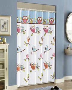 Multi Hooty Fabric Shower Curtain hanging on a shower curtain rod