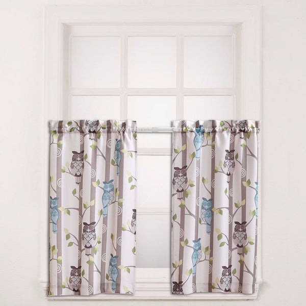 No. 918 Hoot Owl Print Kitchen Valance & Tier Curtains hanging on a curtain rod