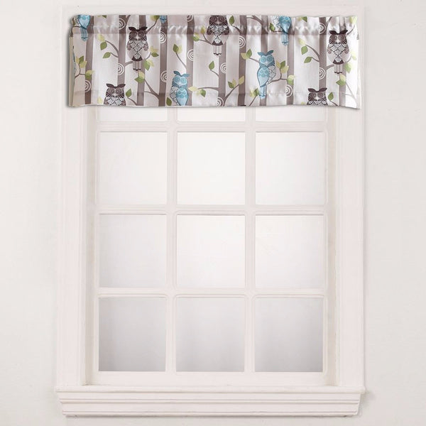 No. 918 Hoot Owl Print Kitchen Valance hanging on a curtain rod