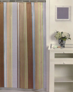 Natural Hyannis Stripe Fabric Shower Curtain hanging on a shower curtain rod