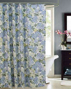 Blue Hydrangea Fabric Shower Curtain hanging on a shower curtain rod