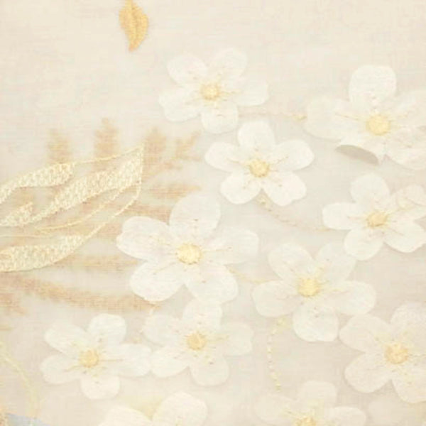 Closeup of Cream Hydrangea Semi Sheer Kitchen Valance and Tier Curtain fabric