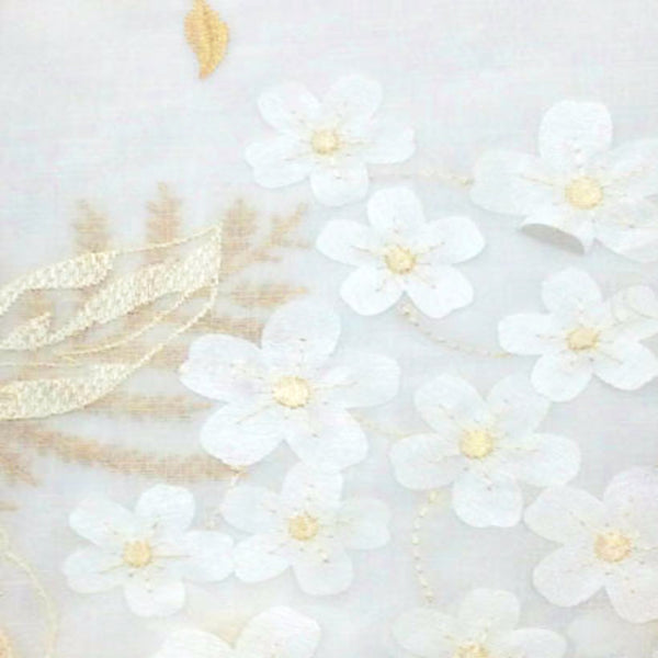 Closeup of White Hydrangea Semi Sheer Kitchen Valance and Tier Curtain fabric