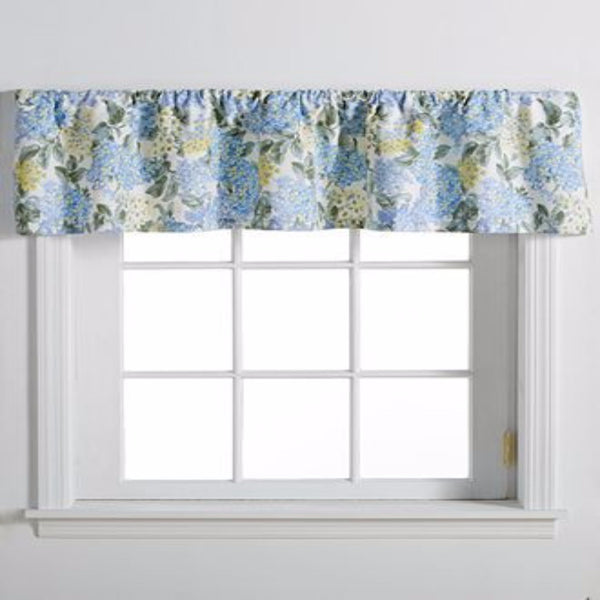 Blue Hydrangea Tailored Kitchen Valance hanging on a curtain rod