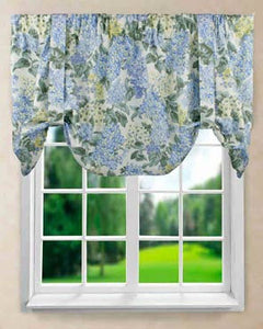 Hydrangea Tie-Up Valance hanging on a curtain rod