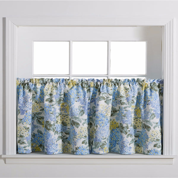 Blue Hydrangea Tailored Tier Curtains hanging on a curtain rod