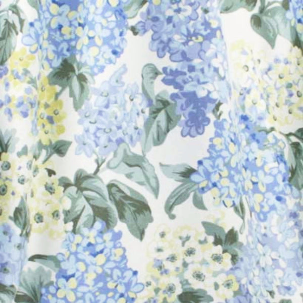 Closeup of Blue Hydrangea Tailored Kitchen Valance and Tier Curtains fabric