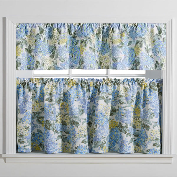 Blue Hydrangea Tailored Kitchen Valance and Tier Curtains hanging on a curtain rod