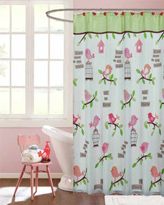 Multi Inspirational Tweets Fabric Shower Curtain hanging on a shower curtain rod
