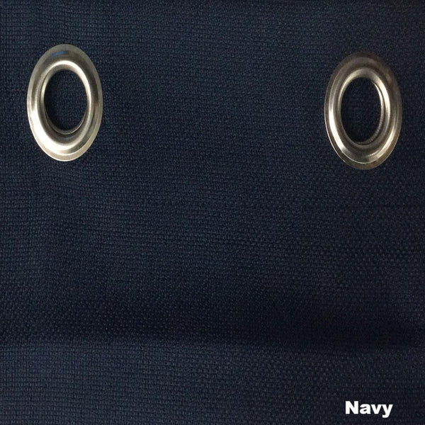 Closeup of Navy Jackson Kitchen Valance and Tier Curtains fabric and grommets