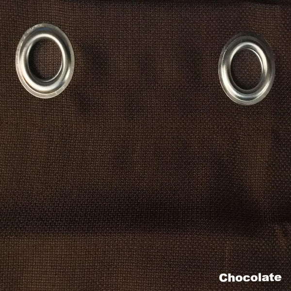 Closeup of Chocolate Jackson Kitchen Valance and Tier Curtains fabric and grommets