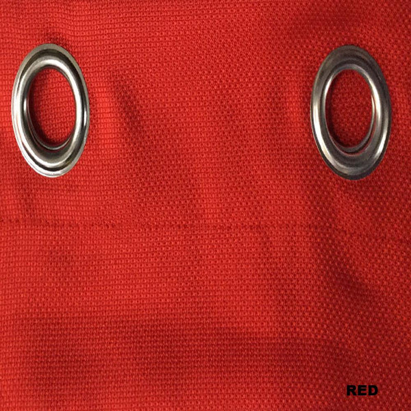 Closeup of Red Jackson Kitchen Valance and Tier Curtains fabric and grommets